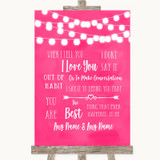 Hot Fuchsia Pink Watercolour Lights When I Tell You I Love You Wedding Sign
