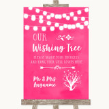 Hot Fuchsia Pink Watercolour Lights Wishing Tree Customised Wedding Sign