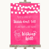 Hot Fuchsia Pink Watercolour Lights Wishing Well Message Wedding Sign