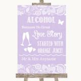 Lilac Burlap & Lace Alcohol Bar Love Story Customised Wedding Sign