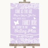 Lilac Burlap & Lace All Family No Seating Plan Customised Wedding Sign