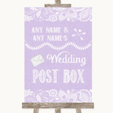 Lilac Burlap & Lace Card Post Box Customised Wedding Sign