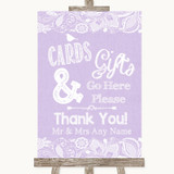 Lilac Burlap & Lace Cards & Gifts Table Customised Wedding Sign