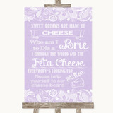 Lilac Burlap & Lace Cheese Board Song Customised Wedding Sign