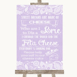 Lilac Burlap & Lace Cheesecake Cheese Song Customised Wedding Sign