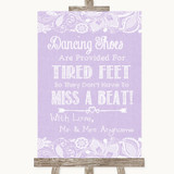 Lilac Burlap & Lace Dancing Shoes Flip-Flop Tired Feet Customised Wedding Sign