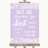 Lilac Burlap & Lace Date Jar Guestbook Customised Wedding Sign