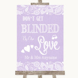Lilac Burlap & Lace Don't Be Blinded Sunglasses Customised Wedding Sign