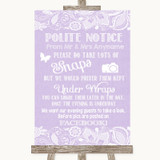 Lilac Burlap & Lace Don't Post Photos Facebook Customised Wedding Sign