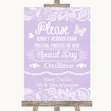 Lilac Burlap & Lace Don't Post Photos Online Social Media Wedding Sign