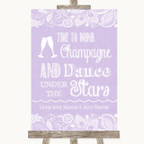 Lilac Burlap & Lace Drink Champagne Dance Stars Customised Wedding Sign