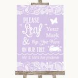 Lilac Burlap & Lace Fingerprint Tree Instructions Customised Wedding Sign