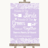 Lilac Burlap & Lace Friends Of The Bride Groom Seating Customised Wedding Sign