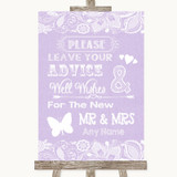 Lilac Burlap & Lace Guestbook Advice & Wishes Mr & Mrs Customised Wedding Sign