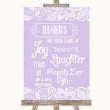 Lilac Burlap & Lace Hankies And Tissues Customised Wedding Sign