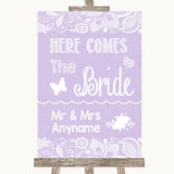 Lilac Burlap & Lace Here Comes Bride Aisle Sign Customised Wedding Sign