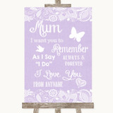 Lilac Burlap & Lace I Love You Message For Mum Customised Wedding Sign