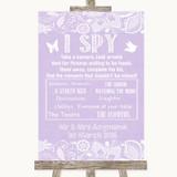 Lilac Burlap & Lace I Spy Disposable Camera Customised Wedding Sign