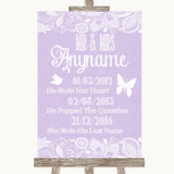 Lilac Burlap & Lace Important Special Dates Customised Wedding Sign