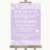 Lilac Burlap & Lace Instagram Photo Sharing Customised Wedding Sign