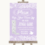 Lilac Burlap & Lace Jenga Guest Book Customised Wedding Sign