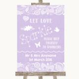 Lilac Burlap & Lace Let Love Sparkle Sparkler Send Off Customised Wedding Sign