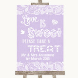 Lilac Burlap & Lace Love Is Sweet Take A Treat Candy Buffet Wedding Sign