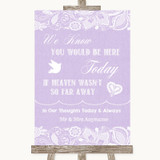 Lilac Burlap & Lace Loved Ones In Heaven Customised Wedding Sign