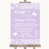 Lilac Burlap & Lace No Phone Camera Unplugged Customised Wedding Sign