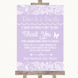 Lilac Burlap & Lace Photo Guestbook Friends & Family Customised Wedding Sign
