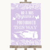Lilac Burlap & Lace Photobooth This Way Left Customised Wedding Sign