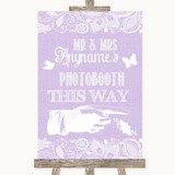 Lilac Burlap & Lace Photobooth This Way Right Customised Wedding Sign