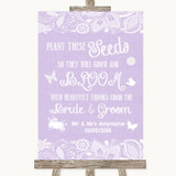 Lilac Burlap & Lace Plant Seeds Favours Customised Wedding Sign