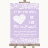 Lilac Burlap & Lace Puzzle Piece Guest Book Customised Wedding Sign