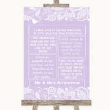 Lilac Burlap & Lace Romantic Vows Customised Wedding Sign