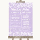 Lilac Burlap & Lace Rules Of The Wedding Customised Wedding Sign