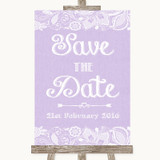 Lilac Burlap & Lace Save The Date Customised Wedding Sign
