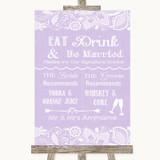 Lilac Burlap & Lace Signature Favourite Drinks Customised Wedding Sign