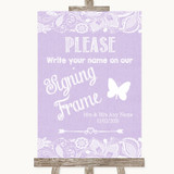 Lilac Burlap & Lace Signing Frame Guestbook Customised Wedding Sign