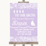 Lilac Burlap & Lace Toiletries Comfort Basket Customised Wedding Sign