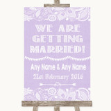 Lilac Burlap & Lace We Are Getting Married Customised Wedding Sign