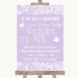 Lilac Burlap & Lace Wedpics App Photos Customised Wedding Sign