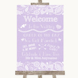 Lilac Burlap & Lace Welcome Order Of The Day Customised Wedding Sign