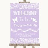 Lilac Burlap & Lace Welcome To Our Engagement Party Customised Wedding Sign