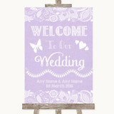 Lilac Burlap & Lace Welcome To Our Wedding Customised Wedding Sign
