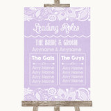 Lilac Burlap & Lace Who's Who Leading Roles Customised Wedding Sign