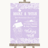 Lilac Burlap & Lace Wishing Well Message Customised Wedding Sign