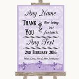 Lilac Shabby Chic Thank You Bridesmaid Page Boy Best Man Wedding Sign