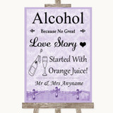 Lilac Shabby Chic Alcohol Bar Love Story Customised Wedding Sign