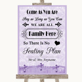 Lilac Shabby Chic All Family No Seating Plan Customised Wedding Sign